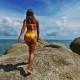 Beautiful Young Blonde Girl In Yellow Bikini Goes - VideoHive Item for Sale