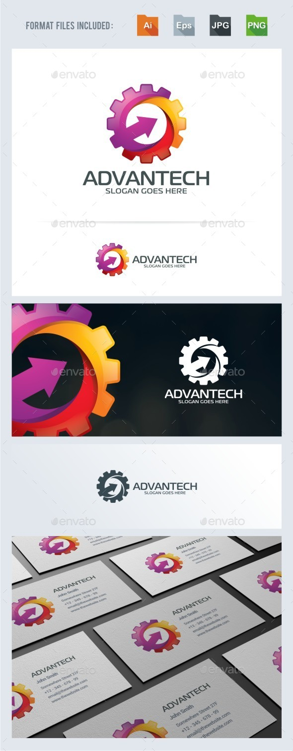 Advance Gear Logo Template - Symbols Logo Templates