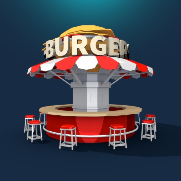 Burger Stand Low Poly - 3DOcean Item for Sale