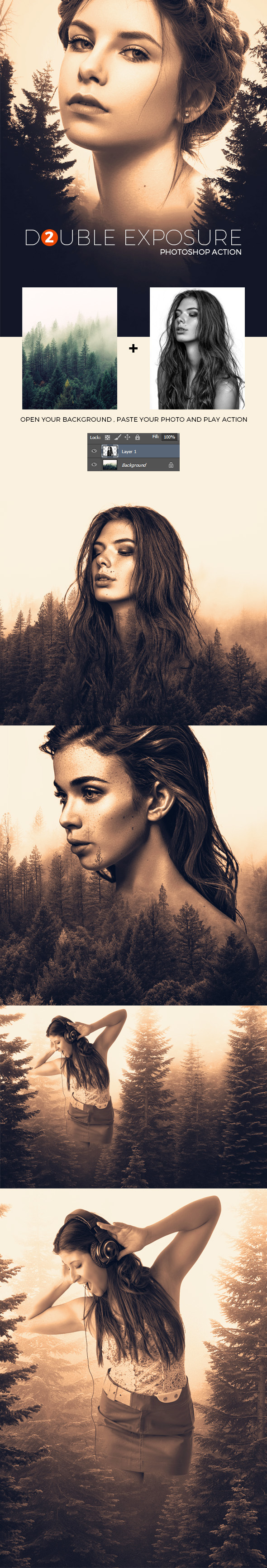 Double Exposure 2 - Photoshop Action - Photo Effects Actions