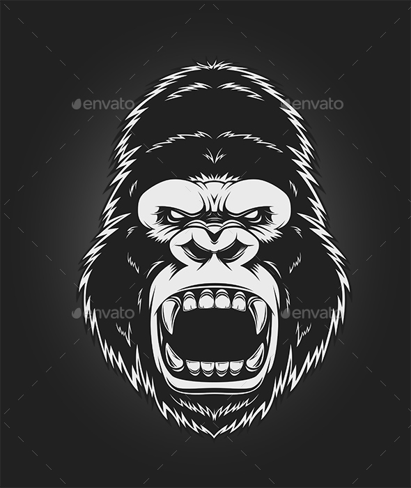 Angry Gorilla Head - Animals Characters