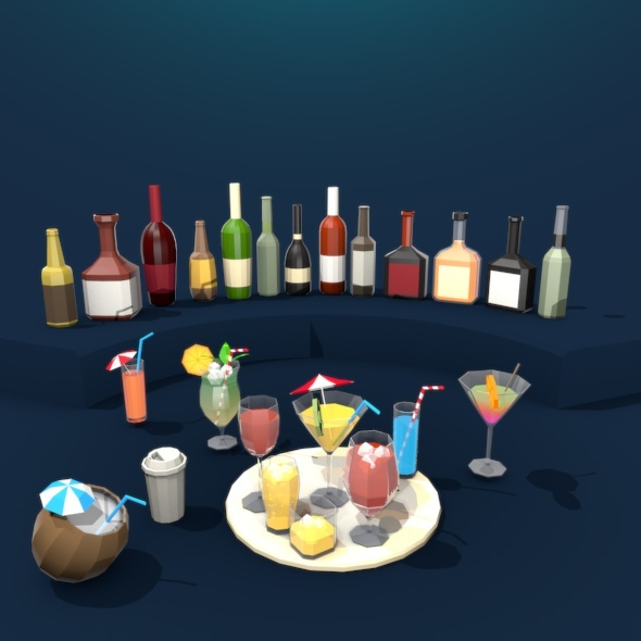 Glass and Bottle Pack - 3DOcean Item for Sale