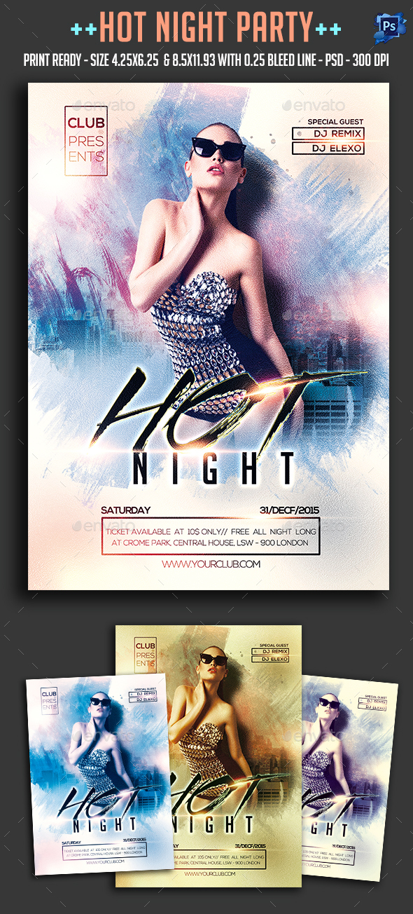 Hot Night Party Flyer - Clubs & Parties Events