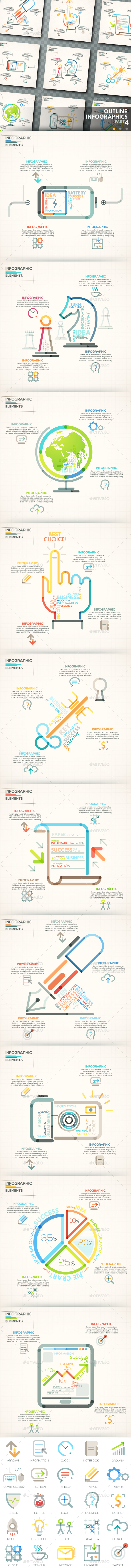 Outline Infographics. Part 4 (+25 Icons) - Infographics