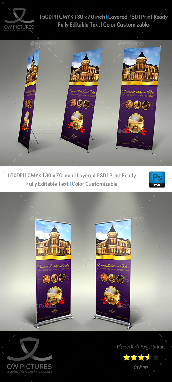 Hotel Signage Rollup Template - Signage Print Templates