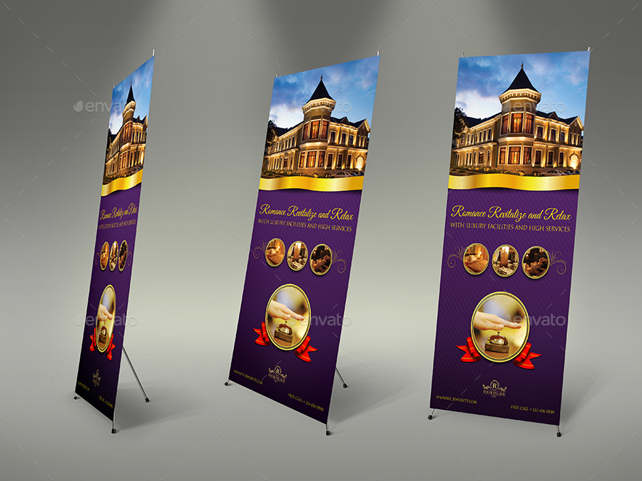 hotel signage rollup template by owpictures