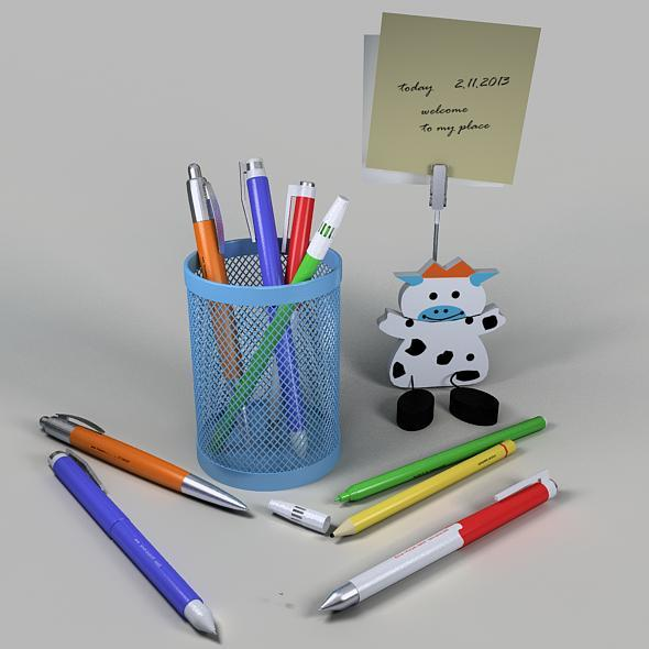 Pencil cup & Paper clipper - 3DOcean Item for Sale