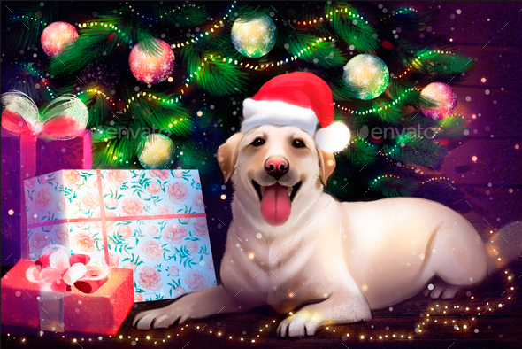 Labrador under Christmas tree - Backgrounds Graphics