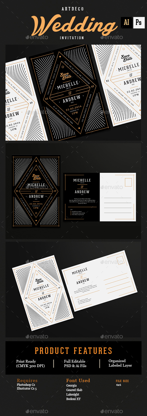 Art Deco Wedding Invitation/Card by Guuver | GraphicRiver