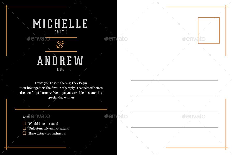 Preview Image Set/Artdeco Wedding Invitation_black_back ...
