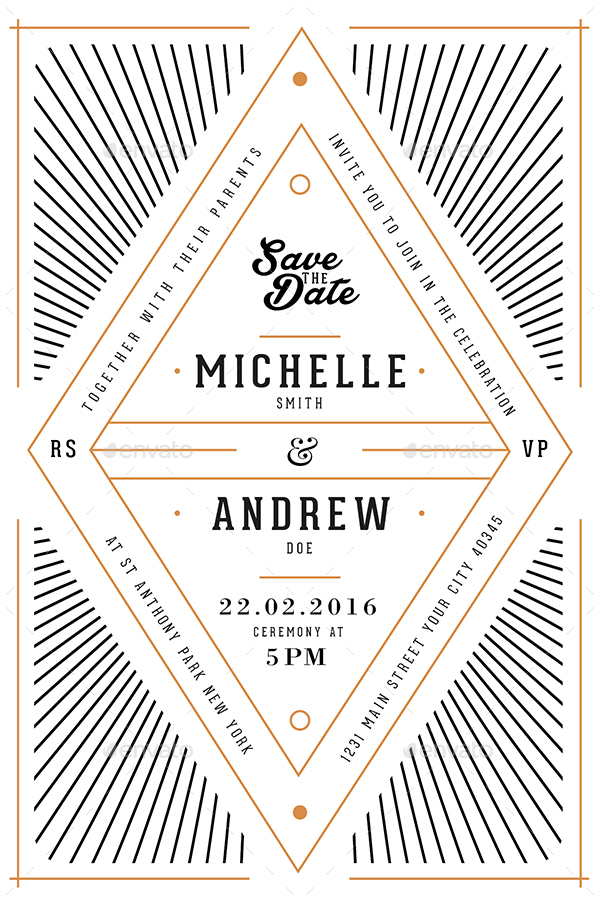 Art Deco Wedding Invitation Card By Guuver Graphicriver