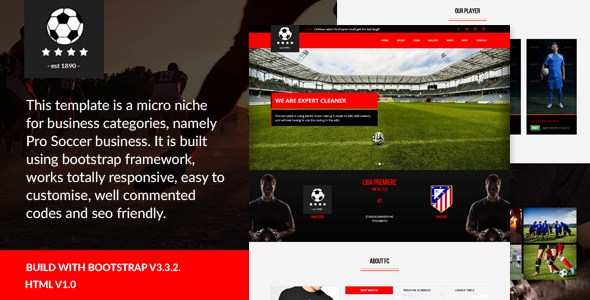 Pro Soccer - Football Club Template - Entertainment Site Templates