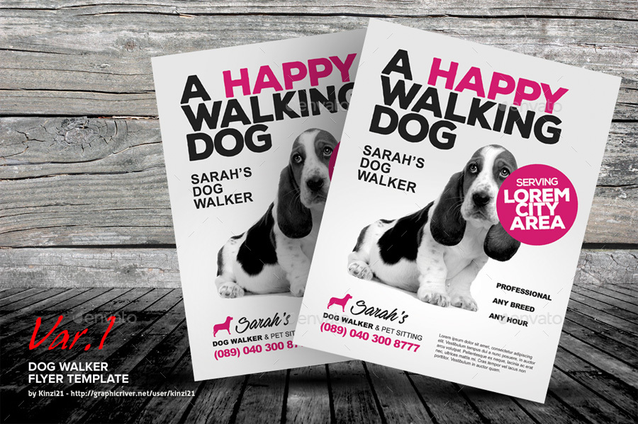 Dog walker flyer templates by kinzi21 graphicriver for Dog walking flyer template free