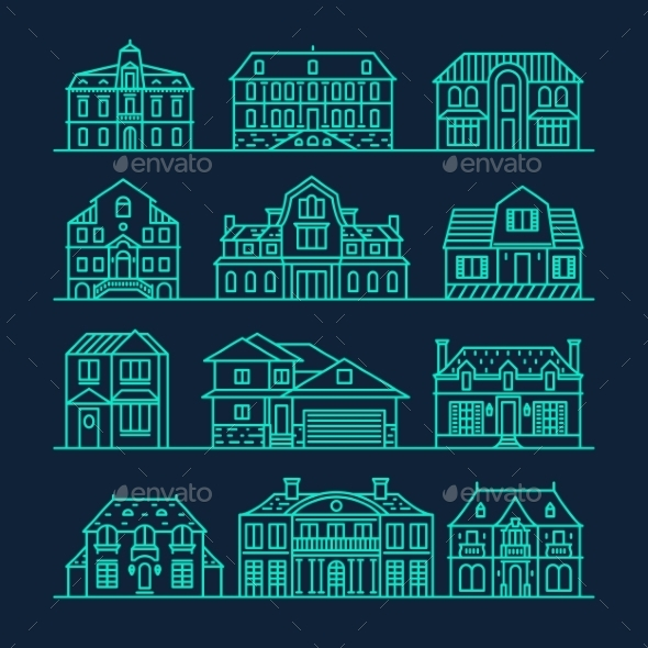 Set of Houses Icons - Buildings Objects
