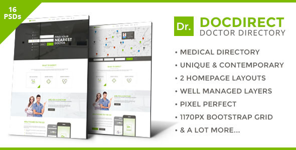 DocDirect - Directory PSD Template for Healthcare Profession - Business Corporate