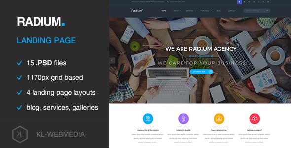 Radium – Creative Landing Page PSD Template