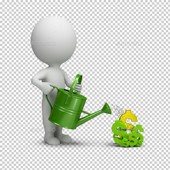 3D Small People - Pours Dollars - Characters 3D Renders