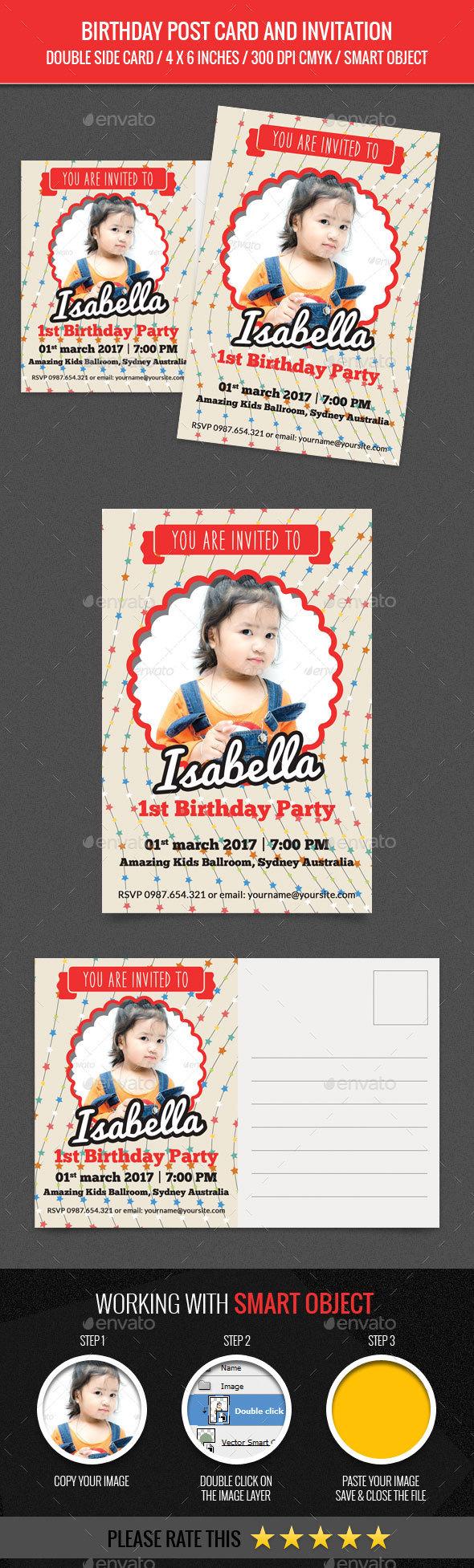 Birthday Post Card and Invitation Card - Birthday Greeting Cards