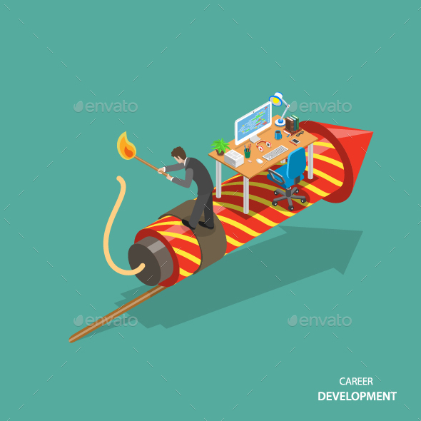 Career Development Isometric Flat Concept - Concepts Business