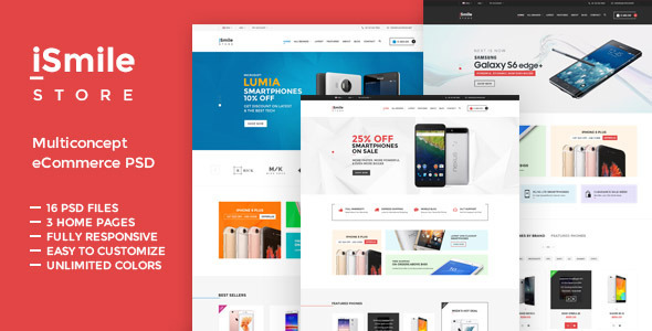 iSmile - Phones Market PSD - Shopping Retail