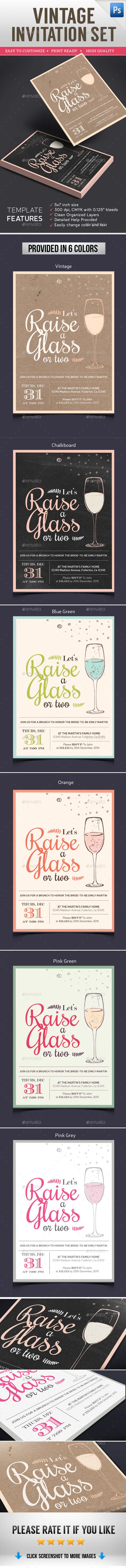 Vintage Invitation Set - Cards & Invites Print Templates