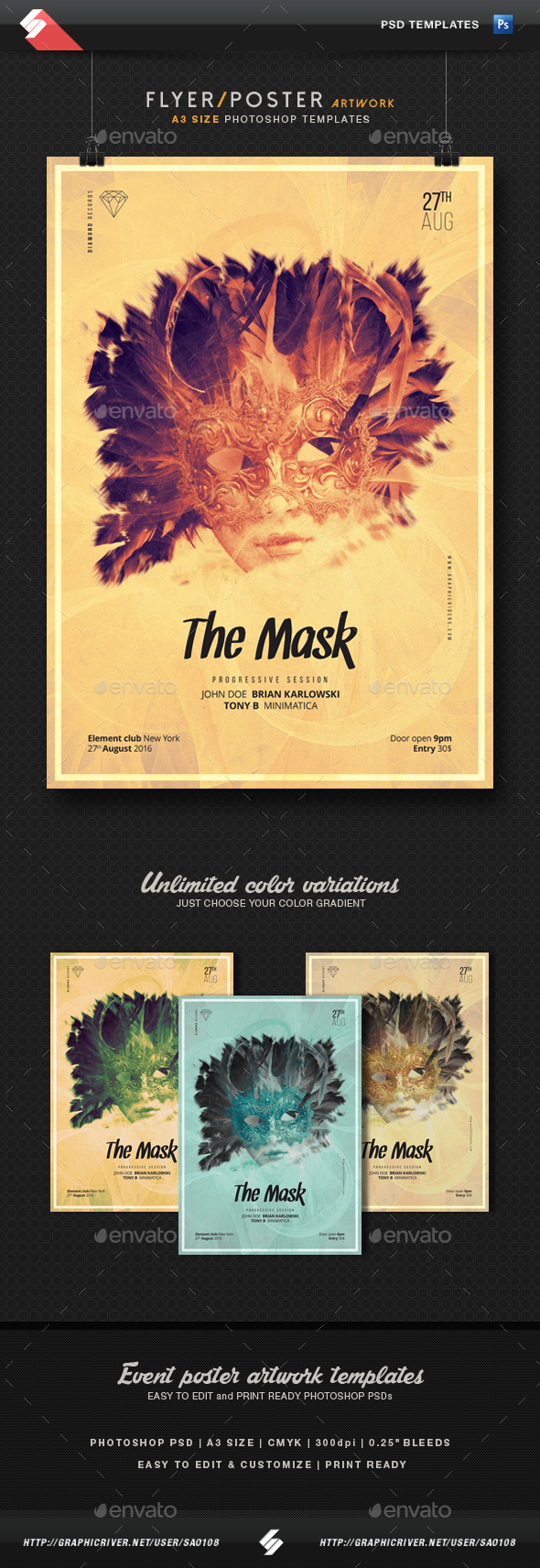 The Mask - Party Flyer Template A3 - Clubs & Parties Events
