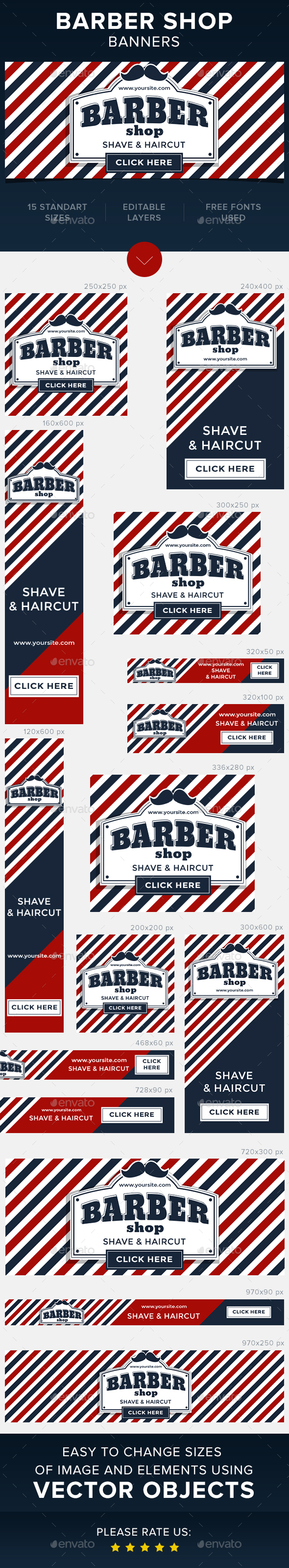 Barber Shop Banners - Banners & Ads Web Elements