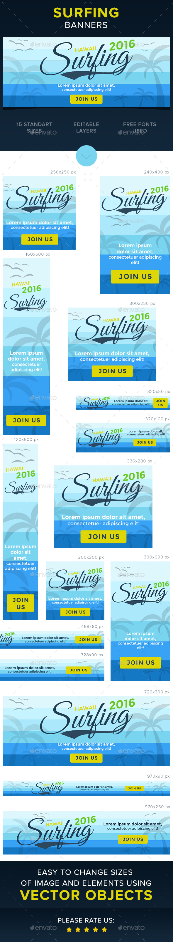 Surfing Banners - Banners & Ads Web Elements