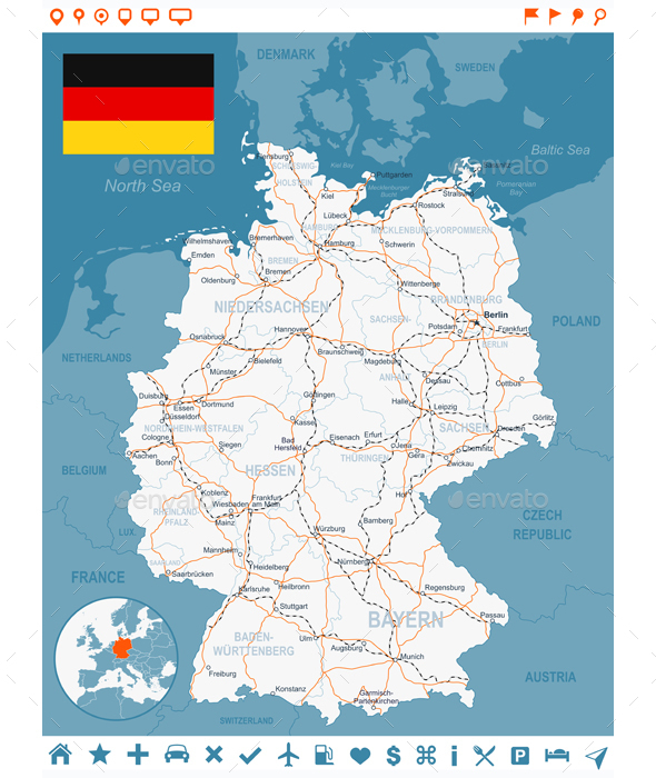 Germany Map and Navigation Labels with Roads - Travel Conceptual