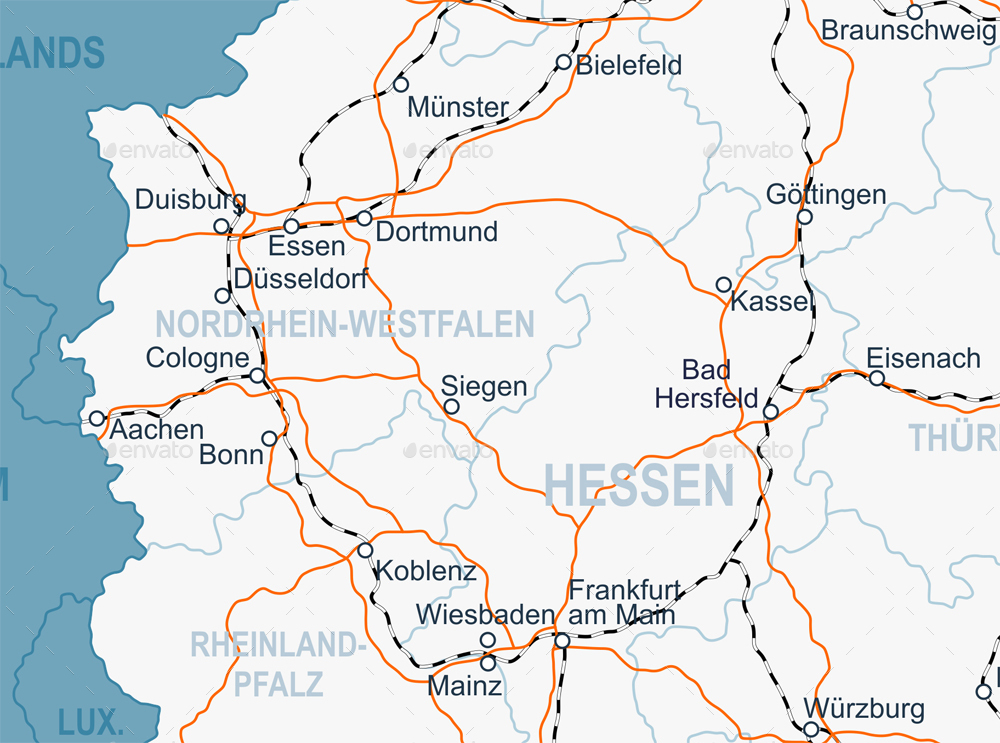Germany Map and Navigation Labels with Roads by dikobrazik