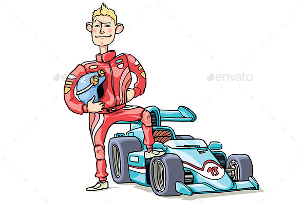 F1 Racer and His Car - People Characters