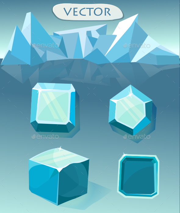 Set of blue crystal ice - Miscellaneous Game Assets