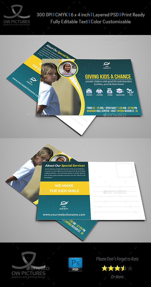 Kids Charity Postcard Template - Cards & Invites Print Templates