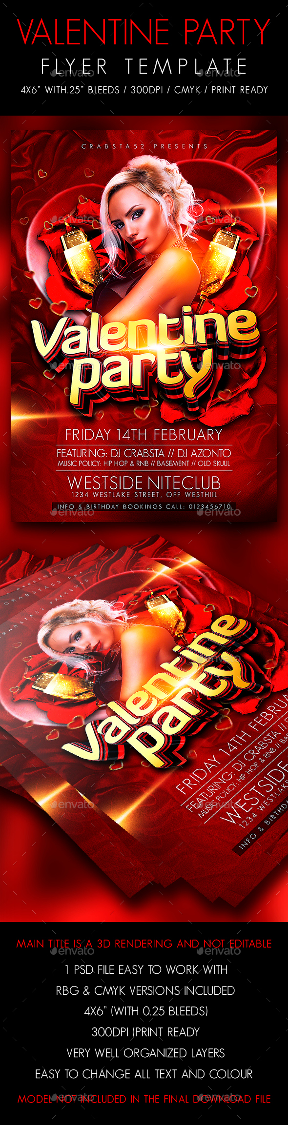 Valentine Party Flyer Template - Flyers Print Templates