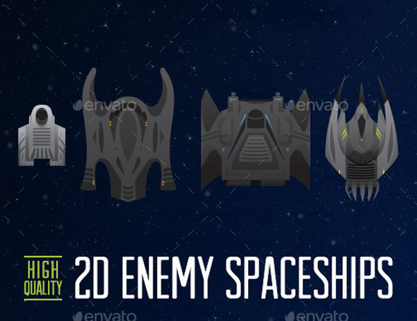 2D Enemy Spaceship - 4 Pack - Game Assets