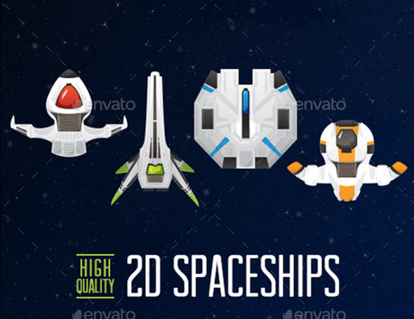 2D Spaceships - 4 Pack - Game Assets