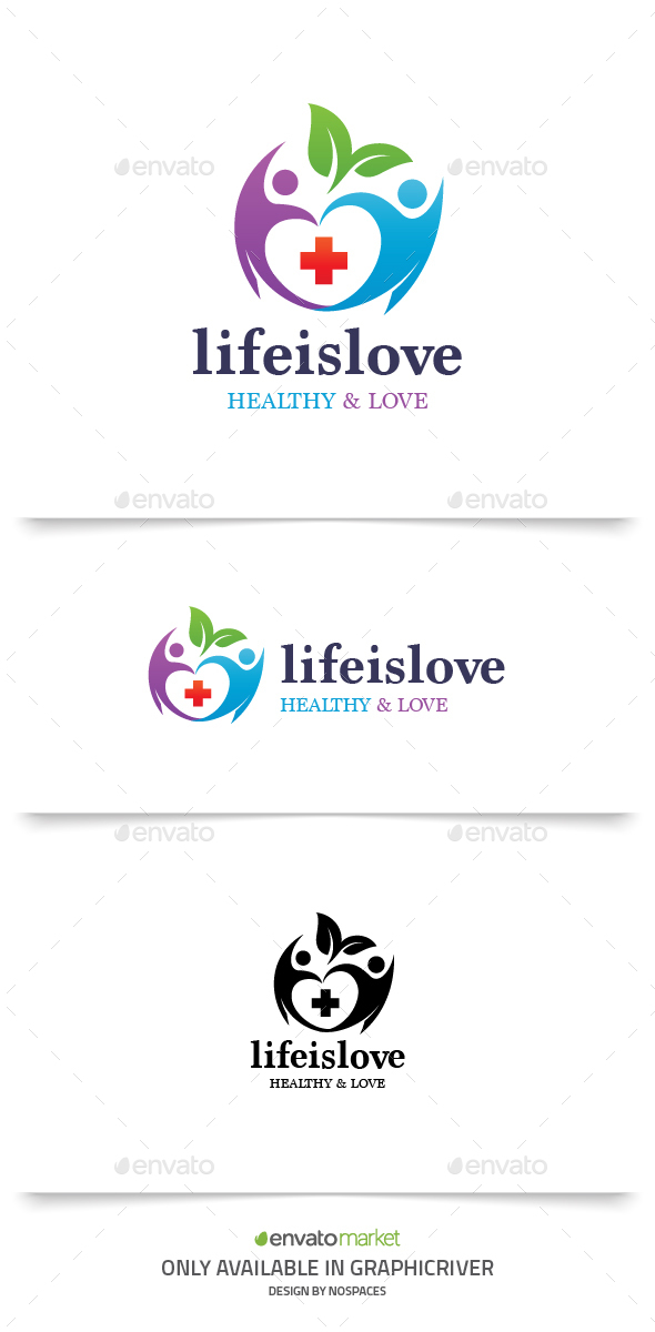 Life is Love - Humans Logo Templates