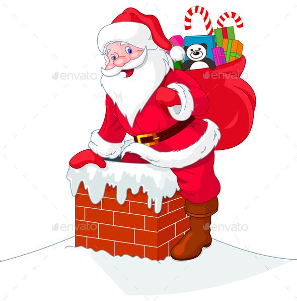 Santa Claus Descends the Chimney - Christmas Seasons/Holidays
