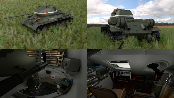 T-34-85 with Interior HDRI - 3DOcean Item for Sale