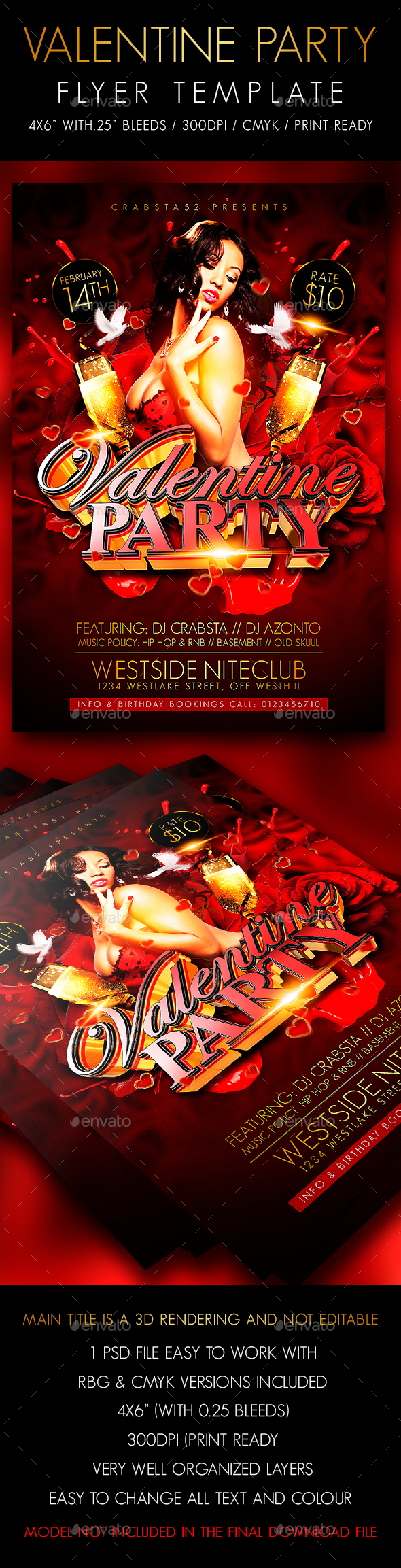 Valentine Party Flyer Template - Clubs & Parties Events
