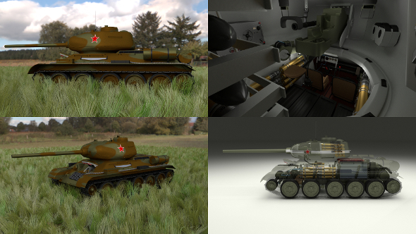 T-34/85 Interior/Engine Bay Full HDRI Camo - 3DOcean Item for Sale