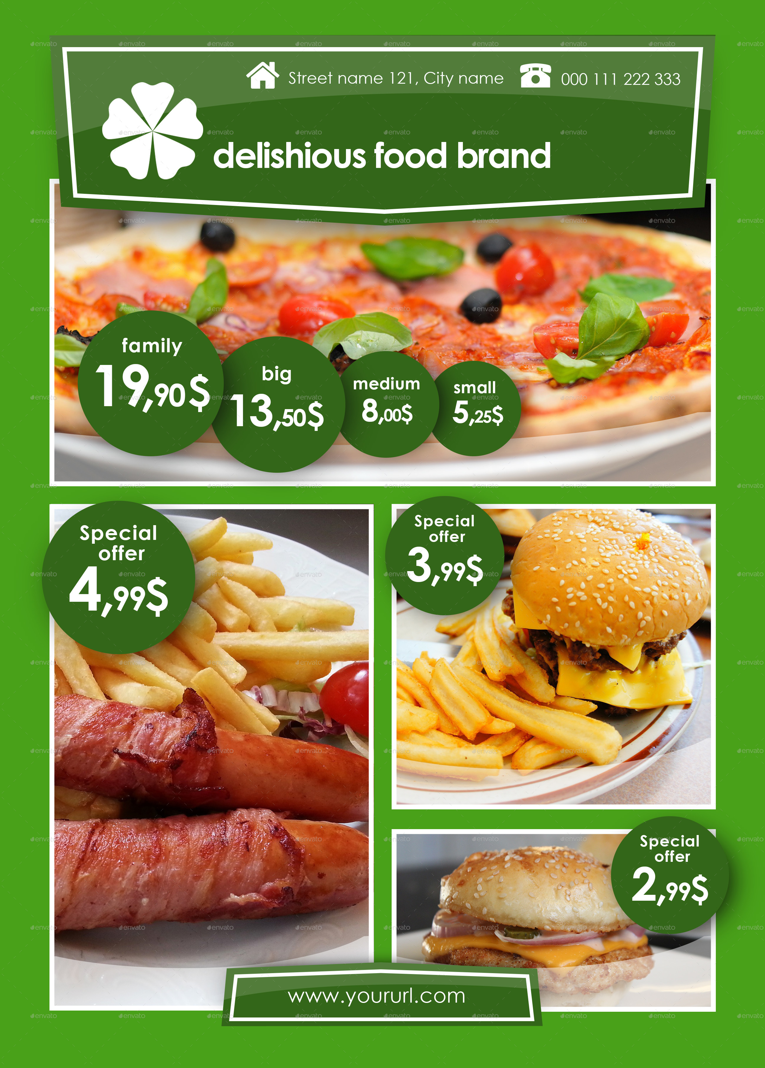 Fast Food A4 Template by LukasBBRS | GraphicRiver