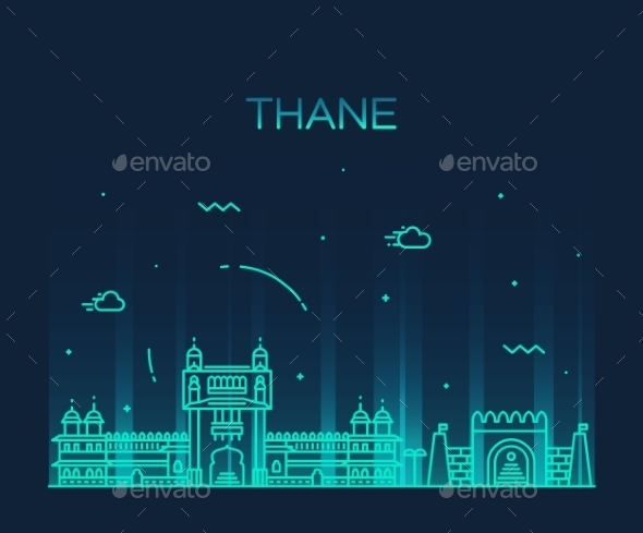 Thane Skyline Silhouette Linear Style - Travel Conceptual