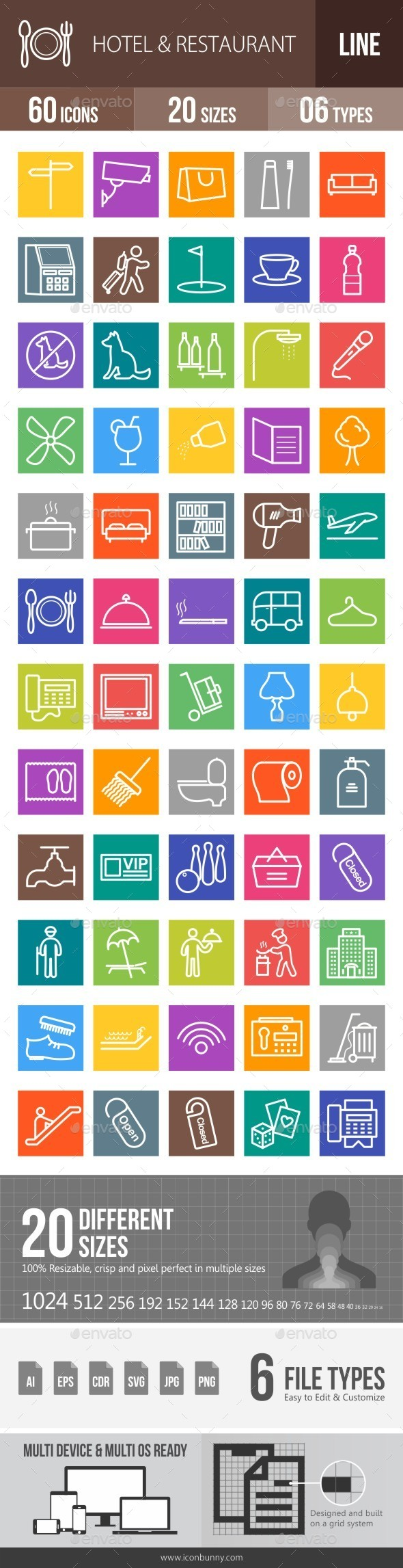Hotel & Restaurant Line Multicolor Icons - Icons
