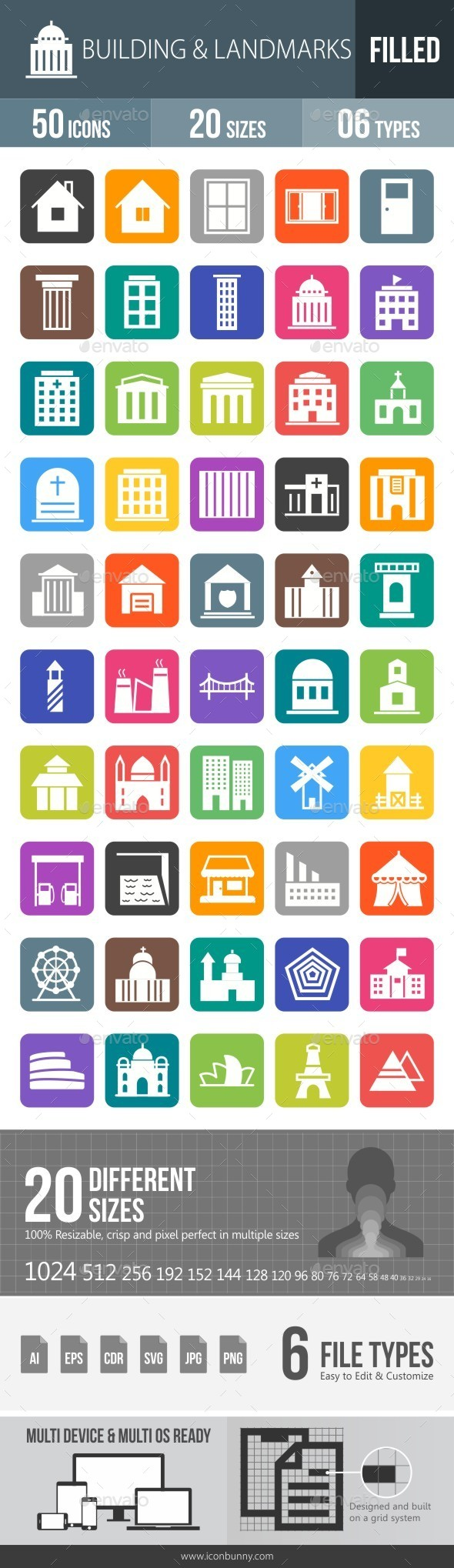 Buildings & Landmarks Flat Round Corner Icons - Icons
