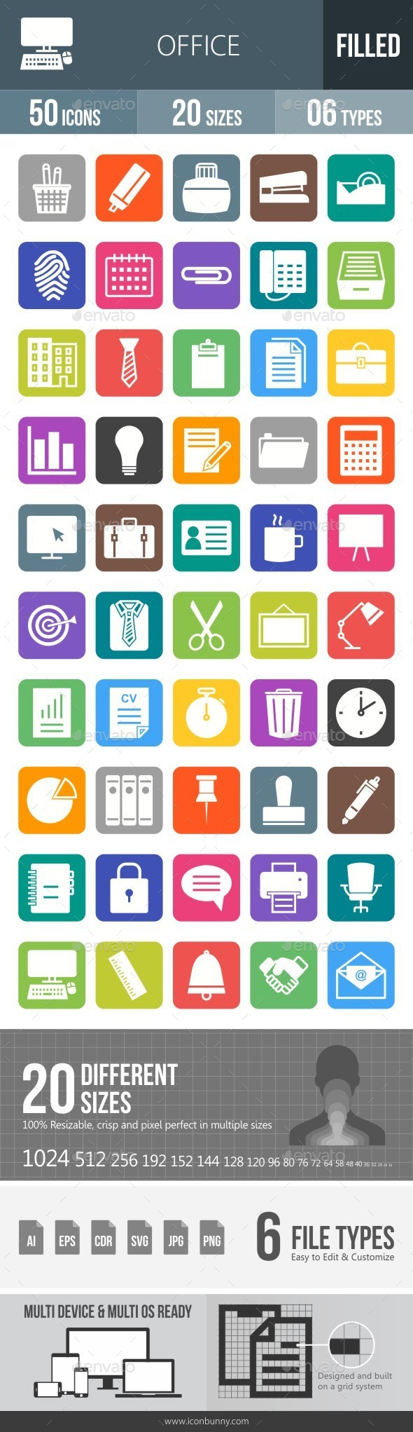 Office Flat Round Corner Icons - Icons