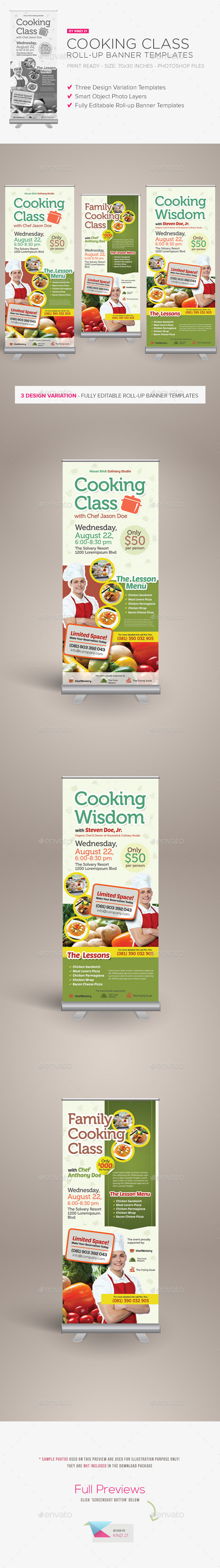 Cooking Class Roll-up Banner Templates - Signage Print Templates
