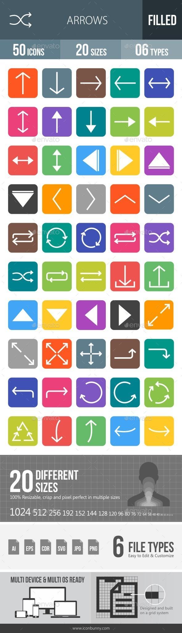 Arrows Flat Round Corner Icons - Icons