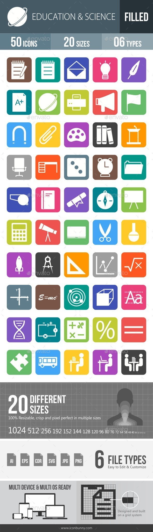 Education & Science Flat Round Corner Icons - Icons