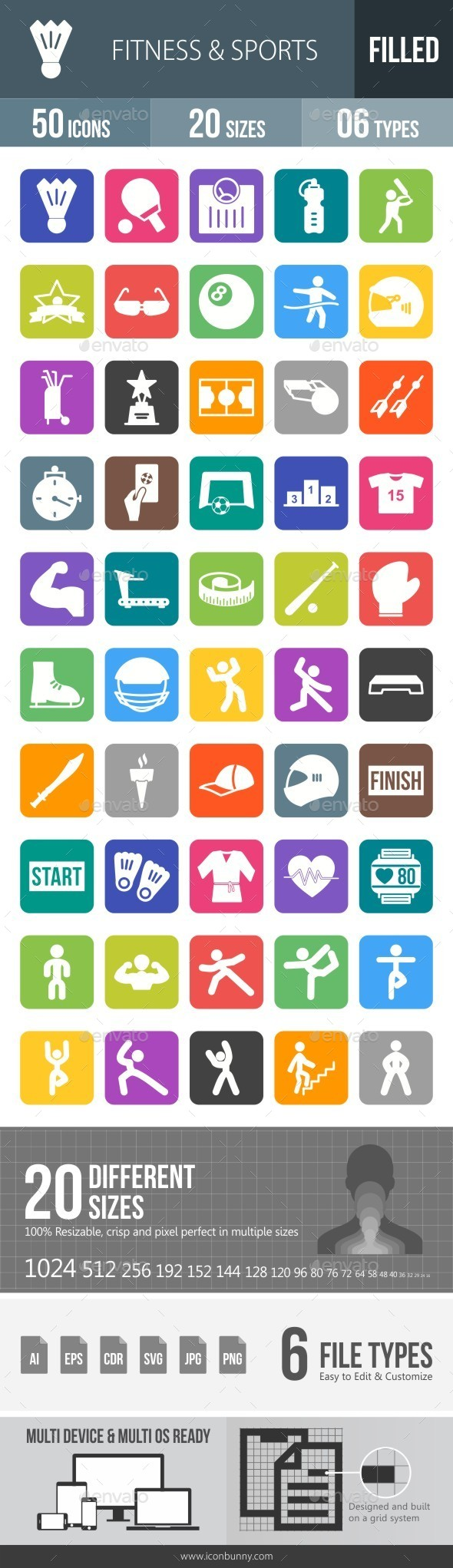 Fitness & Sports Flat Round Corner Icons - Icons